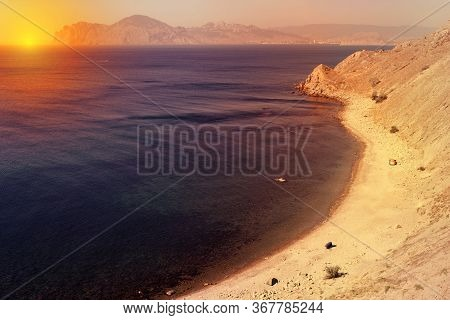 Wild Beach Ordzhonikidze. Sea Of Crimea. Beautiful Crimean Landscape.