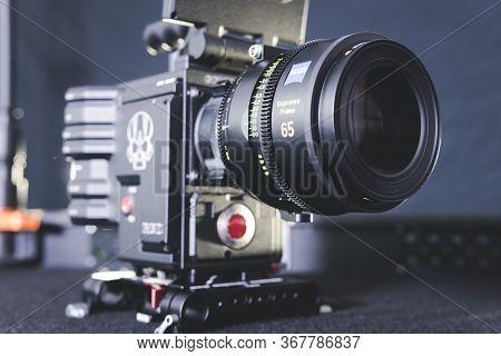 Kyiv, Ukraine - 04.17.2020: Studio Shoot Of Professional 5k Video Camera Red Dsmc2 With Lens Zeiss S