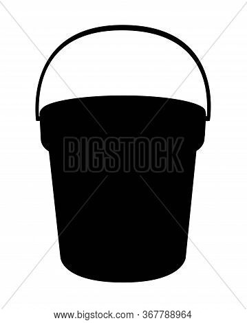 Bucket Silhouette. Bucket - Vector Black Silhouette For Logo Or Pictogram. Bucket Sign Or Icon.