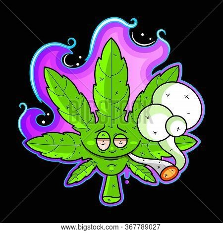Cannabis Logo Design Illustration Suitable For Greeting Card, Poster Or T-shirt Printing.