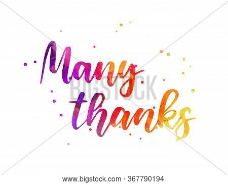 Many Thanks - Hand Lettering Phrase. Modern Calligraphy Inspirational Quote. Watercolor Painted Hand