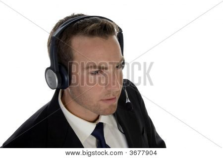 Businessman Wearing Headset