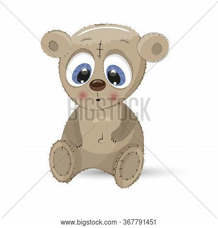 Bear Animal Teddy Fluffy Cartoon. Teddy Bear Cute Baby Character Isolated.