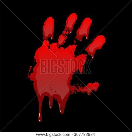 Bloody Hand Print 3d Isolated Black Background. Horror Scary Blood Dirty Handprint, Fingerprint. Red