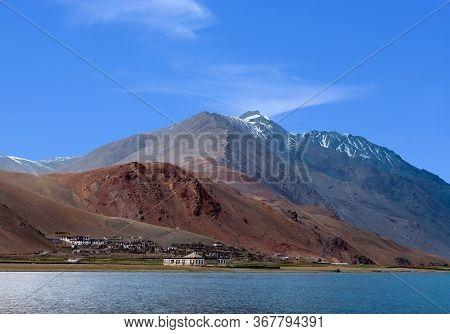 Panoramic View Of Beautiful Tso Moriri Lake And Korzok Village In The Changthang Plateau In Ladakh,