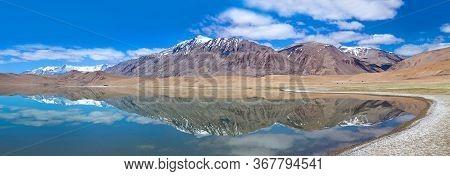 Panoramic View Of Thatsang Karu Salt Water Lake Near Tso Moriri Lake In Rupshu Valley, Ladakh, Jammu