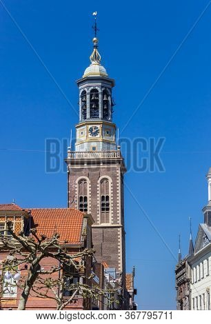 Historic Clock Tower In The Center Of Kampen, Netherlands