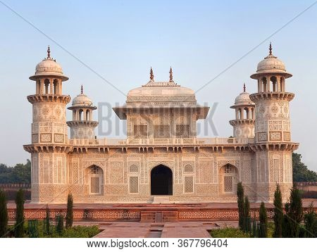 Tomb Of Itimad-ud-daulah In Agra, India. It Is A Mughal Mausoleum In The Indian State Of Uttar Prade