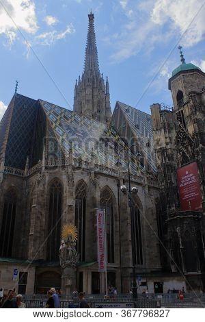 Wien, Austria - Aug 2019: St Stephen Cathedral. Hires.