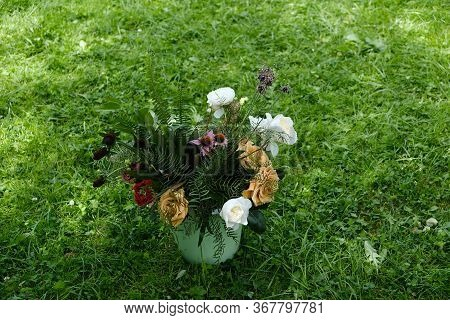 Bouquet Of Wilted Flowers In A Vase On A Background Of Green Grass.