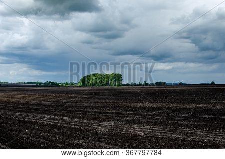 Plowed Field In Spring Day. Black Soil Plowed Field
