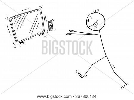 Cartoon Stick Figure Drawing Conceptual Illustration Of Media Addicted Man Trying To Get To Tv, Tell