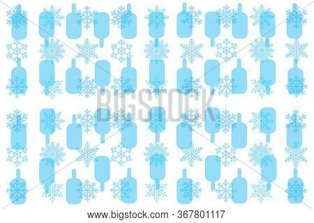 Ice Cream. Background With Ice Cream And Snowflakes. Ice Cream Packaging.