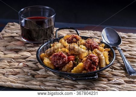 Migas De Extremadura, A Typical Dish From Extremadura, Breadcrumbs, Bacon, Red And Green Peppers, Ga
