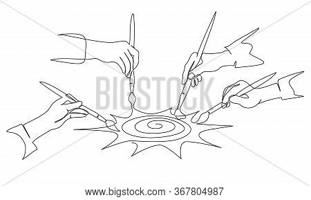 Four Hands Of People Painting Sun With Paintbrush
