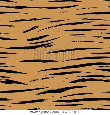 Safari Pattern, Tiger Skin Fur Print Seamless Background, African Wild Animal Camouflage. Bengal Tig