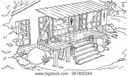 Outline Seashore Beach Bingalow With Terrace And Stairs. Vector Hand Drawn Isolated Tropical House.