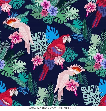 Seamless Pattern With  Tropical Parrots. Colorful Exotic Bacground  Birds, Leaves, Flowers, Plants A