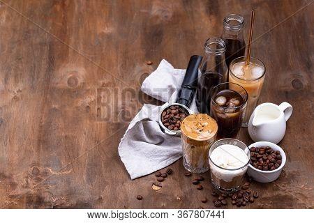 Different Trendy Coffee Drink. Cold Brew Coffee, Espresso Tonic, Ice Cream Latte And Dalgona Coffee