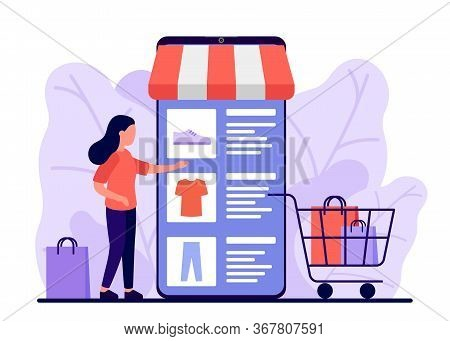 Retail, Shop To Online. Smartphone App For Shopping Goods. Woman Makes Purchases Via Phone Online, C