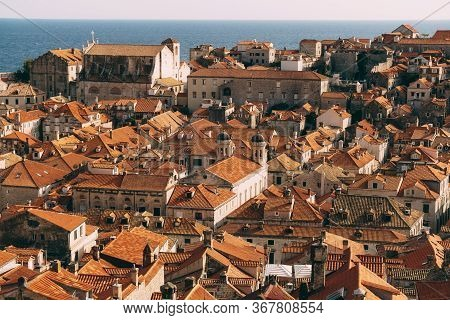 Roofs Of The Old City Of Dubrovnik, Orange Roof Tiles On Houses, A View From A Height, From The Wall
