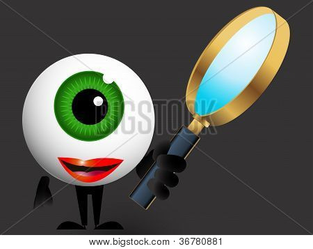 Vector illustration detective with magnifying glass eye