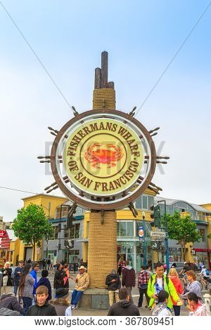 San Francisco, California, United States - August 14, 2016: Fishermans Wharf Of San Francisco With D