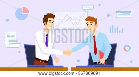 Two Businessman Shaking Hands. They Drove From Laptops. Color Cartoon Vector Illustration For Online