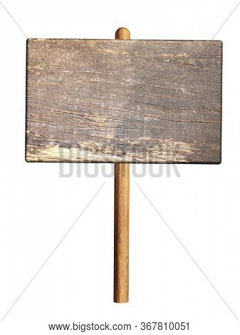 Old wooden sign. Retro wood blank signboard. Isolated on white background. Mock up template. Copy space for text. 3d render