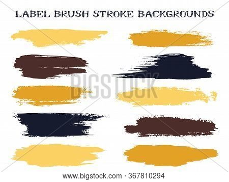 Artistic Label Brush Stroke Backgrounds, Paint Or Ink Smudges Vector For Tags And Stamps Design. Pai