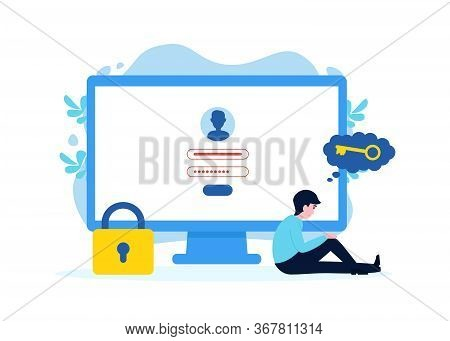 Unhappy Man Near Computer Forgot Account Login And Password. Flat Vector Male Character Design Conce