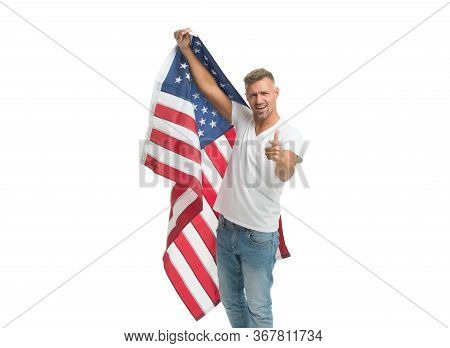 Did You Apply For Citizenship. Man Point Finger With Usa Flag. American Citizen Isolated On White. C