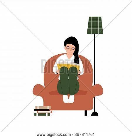 Hobby Concept. Girl Sitting On An Armchair And Reading A Book. Flat Vector Cartoon Modern Illustrati