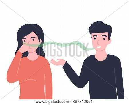 Man Has Bad Smell In His Mouth, Woman Pinch Her Nose. Halitosis Or Fetor Oris Problem. Flat Vector C