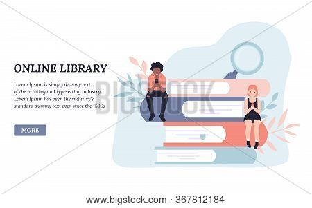 Online Library, Reading Books. People Read Books Online. Flat Concept Vector Illustration Design For