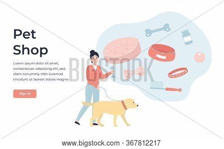 Concept Pet Shop Online Store. Flat Vector Cartoon Modern Illustration For Banner, Poster, App, Temp
