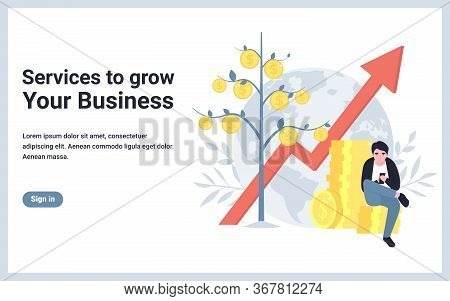 Service To Grow Your Business. Money Tree, Up Arrow, Man With Mobile Phone. Flat Concept Vector Illu
