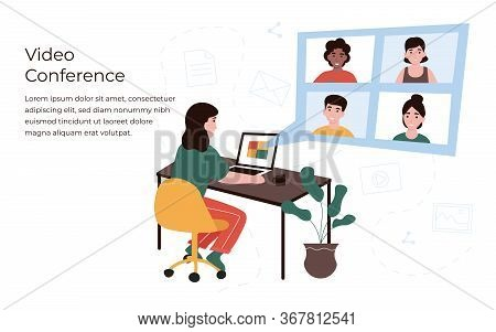Conference Concept. People In Different Locations Communicate With Each Other Use Internet. Girl At