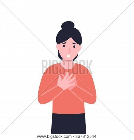 Woman Has Dyspnea, Shortness Of Breath, Disordered Or Inadequate Breathing. Girl Feeling Chest Tight