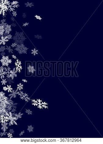 Winter Snowflakes Border Cool Vector Background.  Macro Snow Flakes Flying Border Illustration, Card