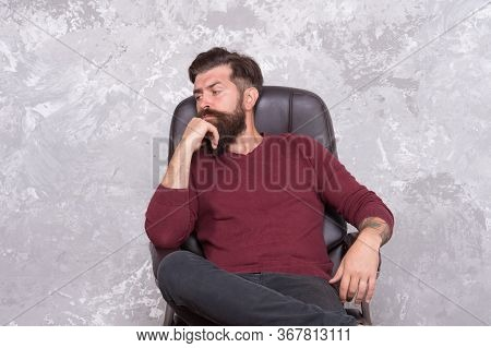 Making Decision. Confident Businessman. Businessman Sit Chair. Bearded Businessman In Office. Busine