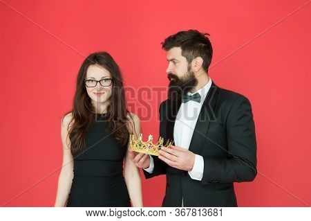 Awarding Ceremony. Prom Couple. Couple In Love Red Background. Couple Of Sensual Woman And Bearded M