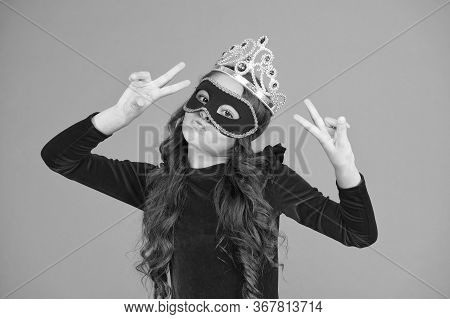 Party Girl. Little Prom Queen Celebrate Victory. Happy Child Make Victory Hand Gestures. Small Winne