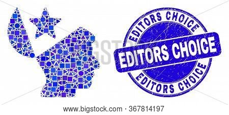 Geometric Open Mind Star Mosaic Icon And Editors Choice Seal Stamp. Blue Vector Rounded Distress Sea