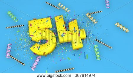Number 54 For Birthday, Anniversary Or Promotion, In Thick Yellow Letters On A Blue Background Decor