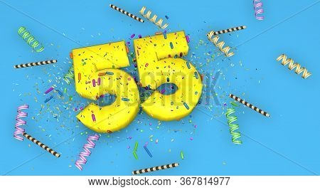 Number 55 For Birthday, Anniversary Or Promotion, In Thick Yellow Letters On A Blue Background Decor