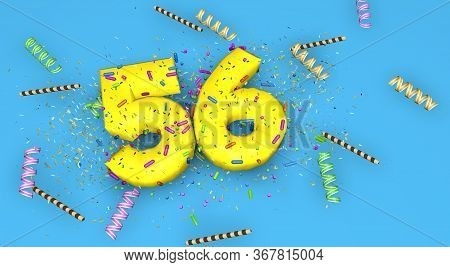 Number 56 For Birthday, Anniversary Or Promotion, In Thick Yellow Letters On A Blue Background Decor