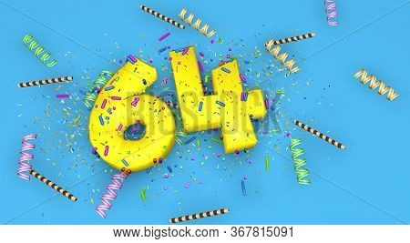 Number 64 For Birthday, Anniversary Or Promotion, In Thick Yellow Letters On A Blue Background Decor