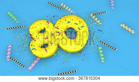 Number 80 For Birthday, Anniversary Or Promotion, In Thick Yellow Letters On A Blue Background Decor