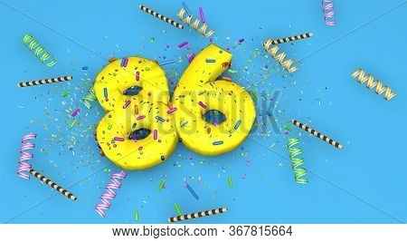 Number 86 For Birthday, Anniversary Or Promotion, In Thick Yellow Letters On A Blue Background Decor